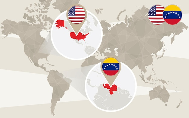 Wereldkaart zoom op de vs, venezuela. vectorillustratie.