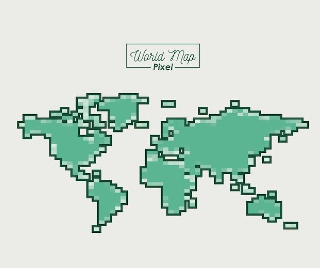 Wereldkaartpixel in groen kleurensilhouet