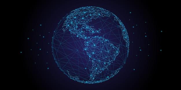 Wereldkaartpunt met lijn en compositie en representatief voor de wereld.