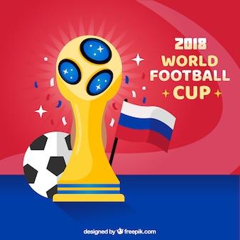 Wereldkampioenschap voetbal achtergrond met gouden trofee