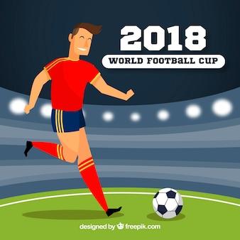 Wereldkampioenschap voetbal achtergrond met speler in vlakke stijl