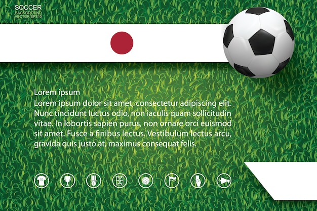 Wereldkampioenschap voetbal beker achtergrond. nationale team afbeelding achtergrond met voetbal voetbal op groen gras patroon en textuur.