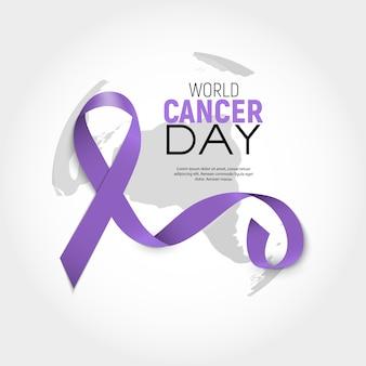 Wereldkankerdag concept met lavendel lint. vector illustratie.