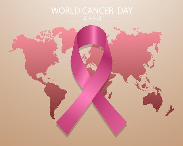 Wereldkankerdag concept met roze lint