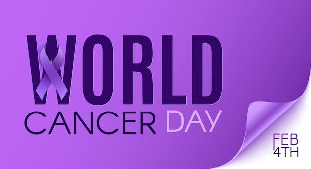 Wereldkankerdag formulering met paars lint.