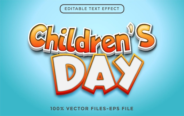 Wereldkinderdag 3d bewerkbaar teksteffect premium vector