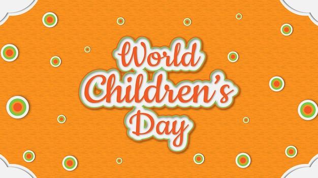 Wereldkinderdag beste tekst effete typografie met ronde kleur achtergrond vector