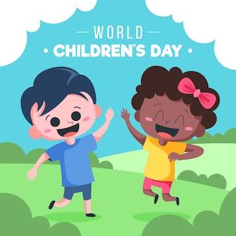 Wereldkinderdag geïllustreerd ontwerp