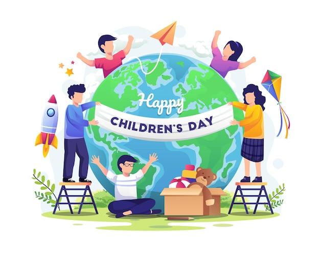Wereldkinderdag met gelukkige kinderen over de hele wereld illustratie
