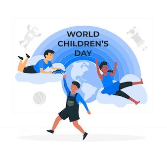 Wereldkinderen dag concept illustratie