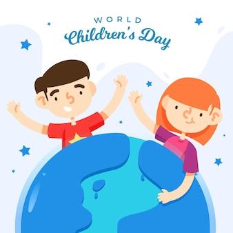 Wereldkinderen dag evenement plat ontwerp