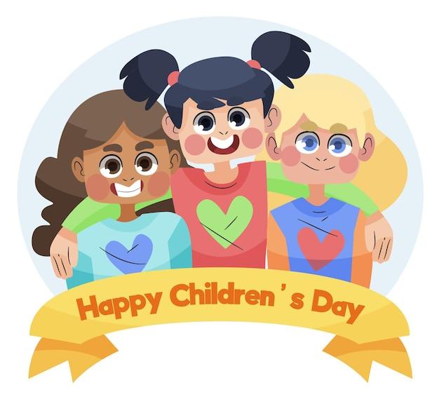 Wereldkinderen dag hand getekend ontwerp