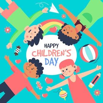 Wereldkinderen dag illustraties plat ontwerp