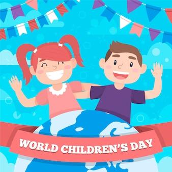 Wereldkinderen dag plat ontwerp