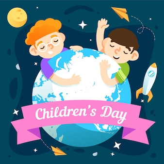 Wereldkinderen dag viering plat ontwerp