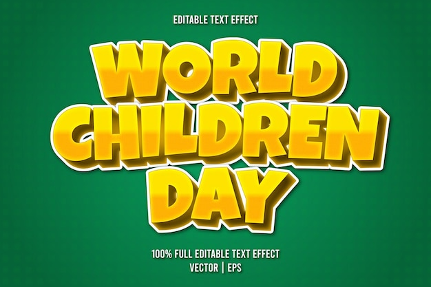Wereldkinderendag bewerkbare teksteffect komische stijl