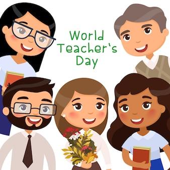Wereldlerarendag vrolijke leraren en leerlingen die internationale vakantie vieren