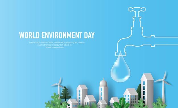 Wereldmilieudag een kraan met waterdruppel met stad