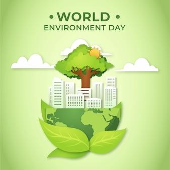 Wereldmilieudag en stad in papierstijl