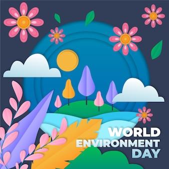 Wereldmilieudag in papierstijl geïllustreerd