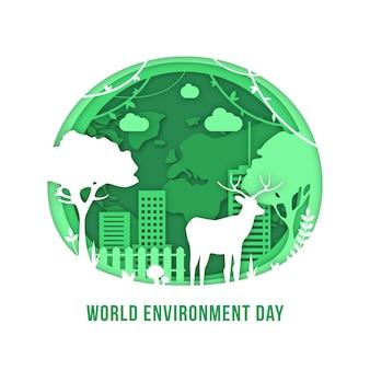 Wereldmilieudag in papierstijl met natuur en gebouwen