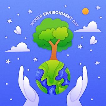 Wereldmilieudag in papierstijl