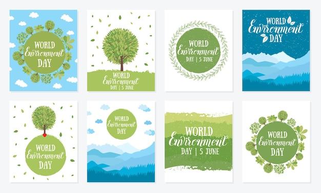 Wereldmilieudag vectorillustratie met de woorden houten uithangbord en groene bladeren