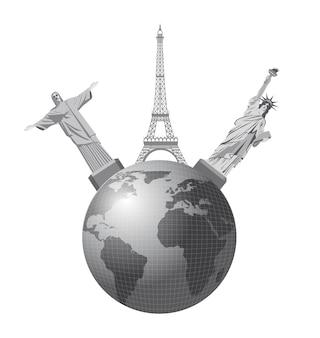 Wereldmonumenten over witte achtergrond, vectorillustratie