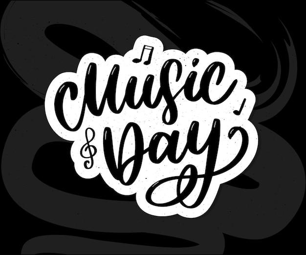 Wereldmuziek dag belettering kalligrafie borstel logo vakantie