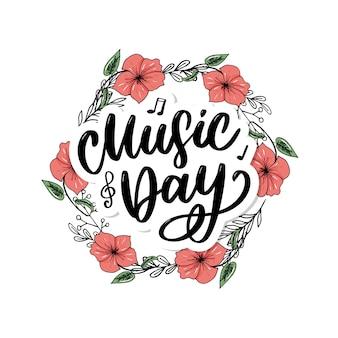 Wereldmuziek dag belettering kalligrafieborstel logo vakantie