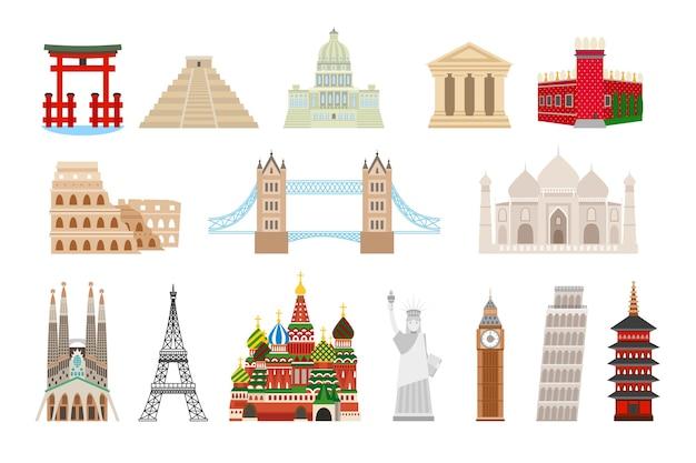Wereldoriëntatiepunten in vlakke stijl. colosseum en het kremlin, brug en taj mahal, vrijheidsbeeld, de big ben, eiffel en de toren van pisa.