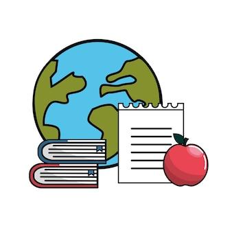 Wereldplaneet met boeken, notitieboekje papper en appel