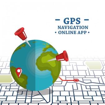 Wereldplaneet met gps navigatiepictogrammen