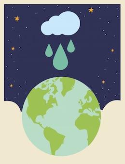 Wereldplaneet met regenachtige wolk