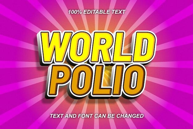 Wereldpolio bewerkbare teksteffect komische stijl