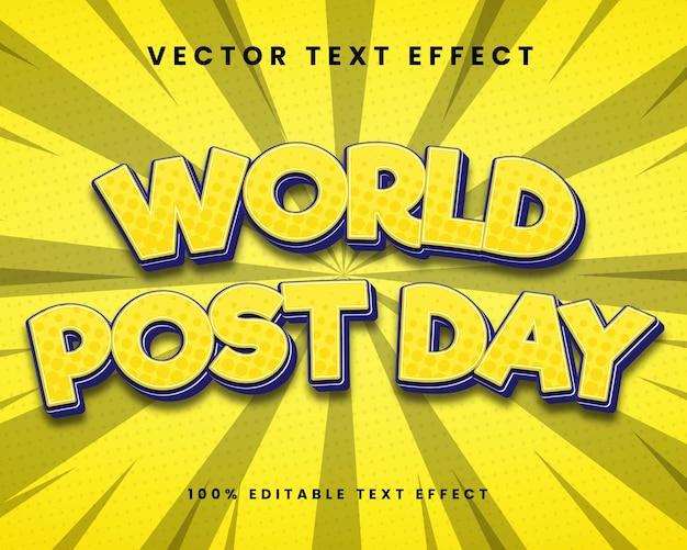 Wereldpostdag 3d bewerkbaar teksteffect premium vector
