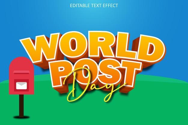 Wereldpostdag met bewerkbaar teksteffect in moderne stijl