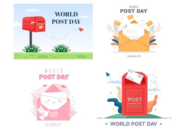 Wereldpostdag vectorillustratie