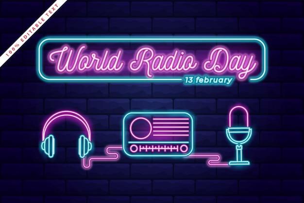 Wereldradiodag banner achtergrond met bewerkbaar teksteffect. neon licht kunststijl.