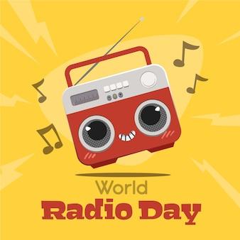 Wereldradiodag hand getekend achtergrond met kawaii radio