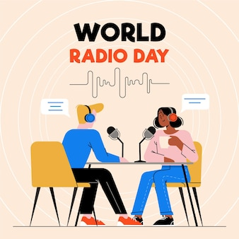 Wereldradiodag mensen praten in de lucht Premium Vector