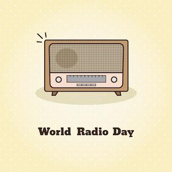 Wereldradiodag. vectorillustratie van radio.