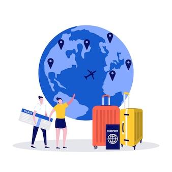 Wereldreizen, internationale reis, zomervakantieconcept met mensenkarakter.
