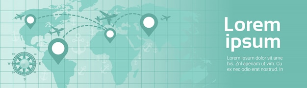 Wereldreizen per vliegtuig sjabloon banner vliegtuig fly over earth-kaart met navigatie pointers route planning