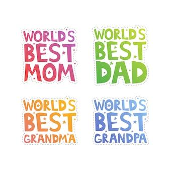 Werelds beste familieleden uitgesneden
