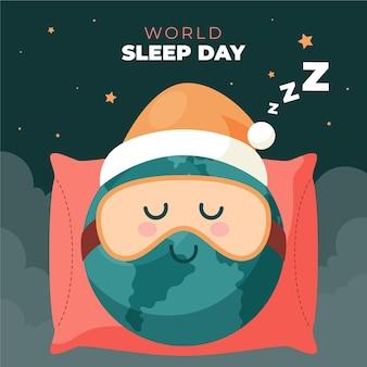 Wereldslaapdag illustratie met slapende planeet met masker