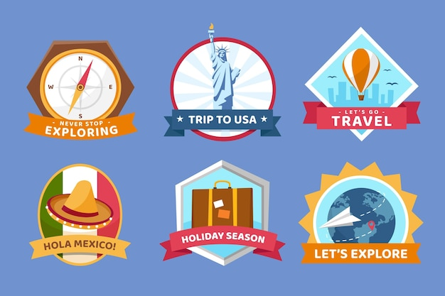 Wereldtoerisme dag badges collectie