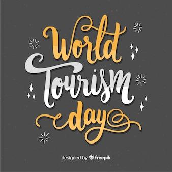Wereldtoerisme dag belettering met platte ontwerp