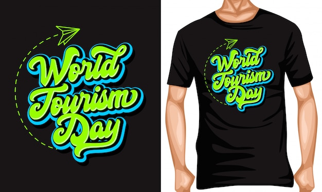 Wereldtoerisme dag belettering typografie citaten