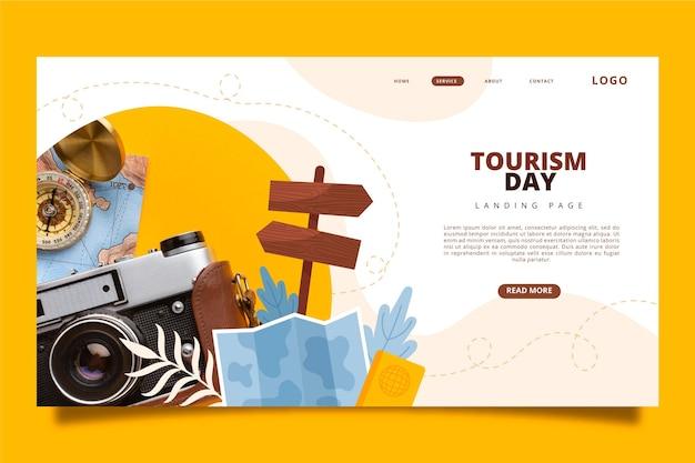 Wereldtoerisme dag bestemmingspagina sjabloon met foto